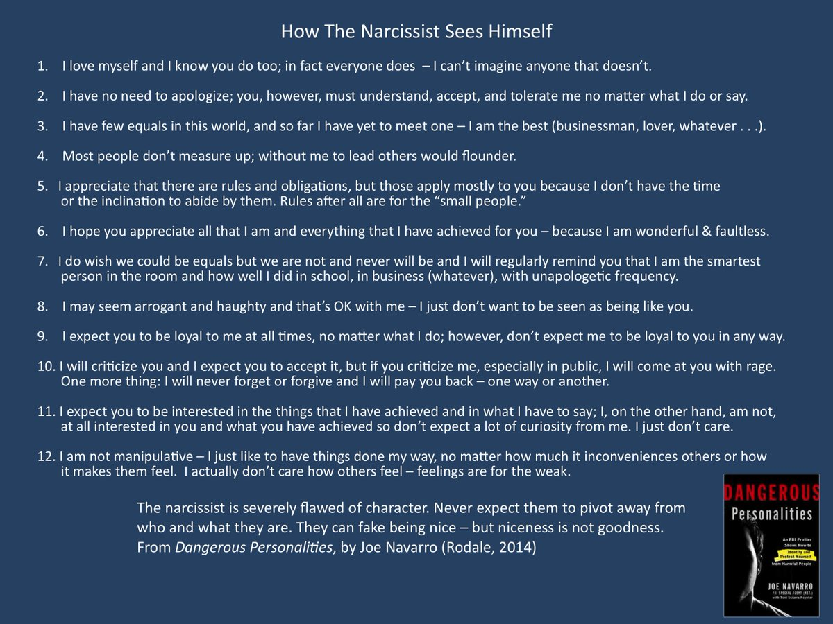 The narcissist can fake niceness - but they are at the core permanently flawed of character https://t.co/3RCQGfRWnZ
