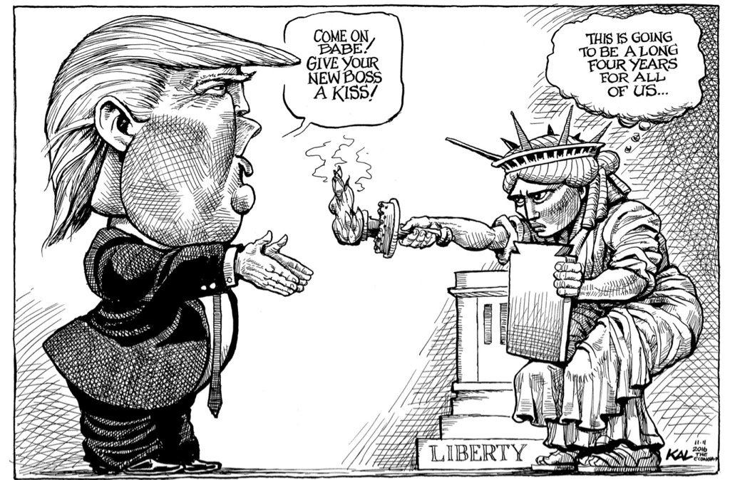"""Political Cartoon on Twitter: """"Here comes President Trump ..."""