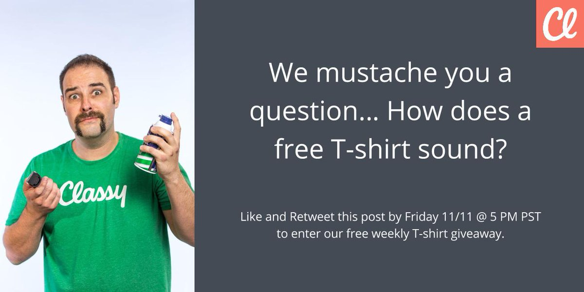 Winning a T-shirt has never been easier. Like and retweet to enter! #Movember https://t.co/2gvVT2ee6S https://t.co/zuQ6WGx0wN