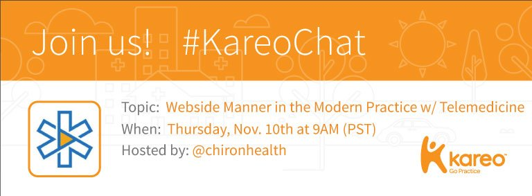 Welcome to #KareoChat with your host, @chironhealth! Have you had a chance to view our questions? https://t.co/5eKv16pd11 Roll call! https://t.co/exwK3AS2y5