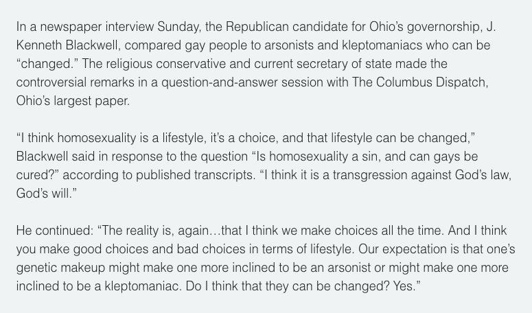 """Homosexuality is a lifestyle, it's a choice, and that lifestyle can be changed."" – Trump transition team's head of domestic policy"