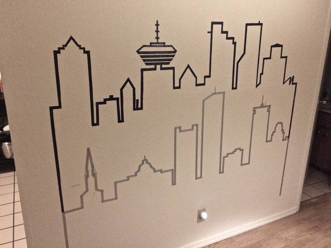 I Created the vancouver and boston skylines on my wall in washi tape DIY