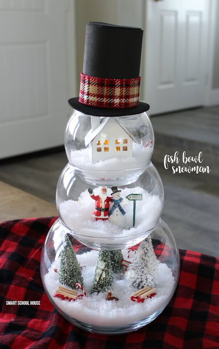 Such a cute and clever idea! Fish Bowl Snowman DIY craft