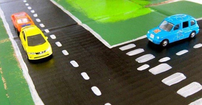 Cardboard Box Racetrack by Kristina Hoy Kids Crafts
