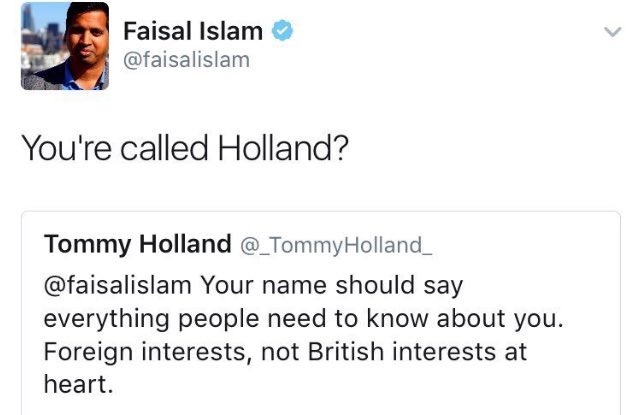 Mr Holland has now deleted his original tweet and is off to grow poppies in his clogs. But I loved this too much.