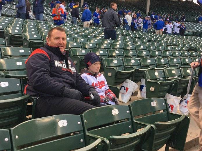 Former Indian Jim Thome and his son Landon at Wrigley to take in a Tribe World Series game https://t.co/aDA4CRCa91
