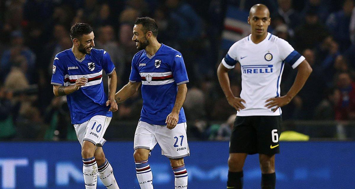 Quagliarella regala la vittoria alla Sampdoria, Inter torna a perdere.