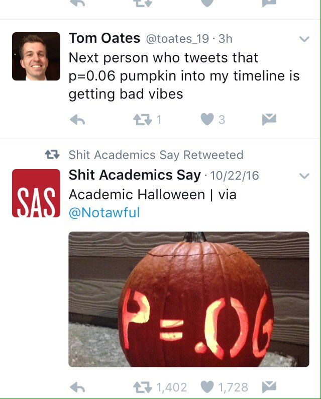 """Tom Oates on Twitter: """"Next person who tweets that p=0.06 pumpkin into my  timeline is getting bad vibes"""""""