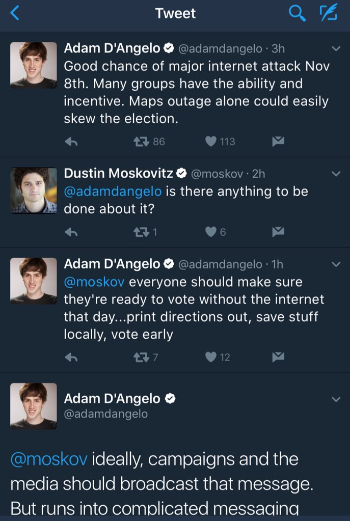 Facebook cofounder and early Facebook exec are worried about an Internet attack on Election Day https://t.co/xOgzVh7g1b
