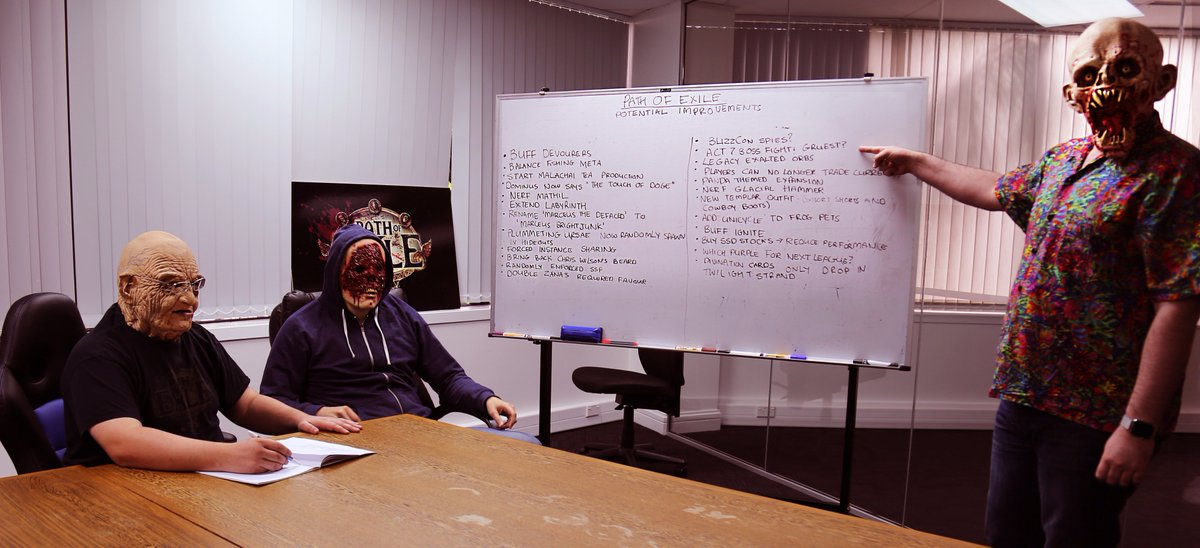 I walked in on our founders having a Path of Exile planning meeting on Halloween. https://t.co/KfsT0wSr3l