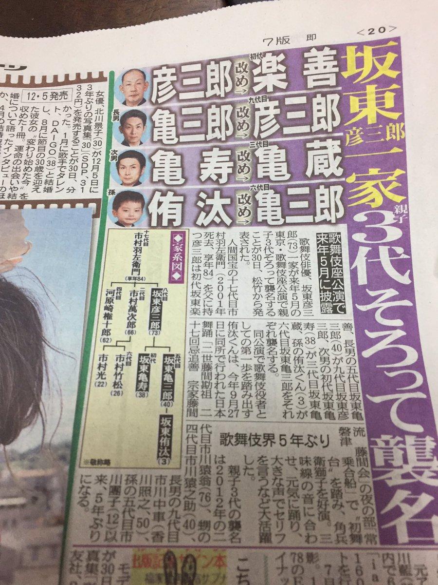 この度主人、坂東亀寿が、来年の5月に歌舞伎座で、親子3代4人で襲名する事が決まりました。 詳細は年明け、記者会見にてご報告できるかと思います。 来年5月歌舞伎座、皆様お待ちしております。 https://t.co/cXgDLCOja3