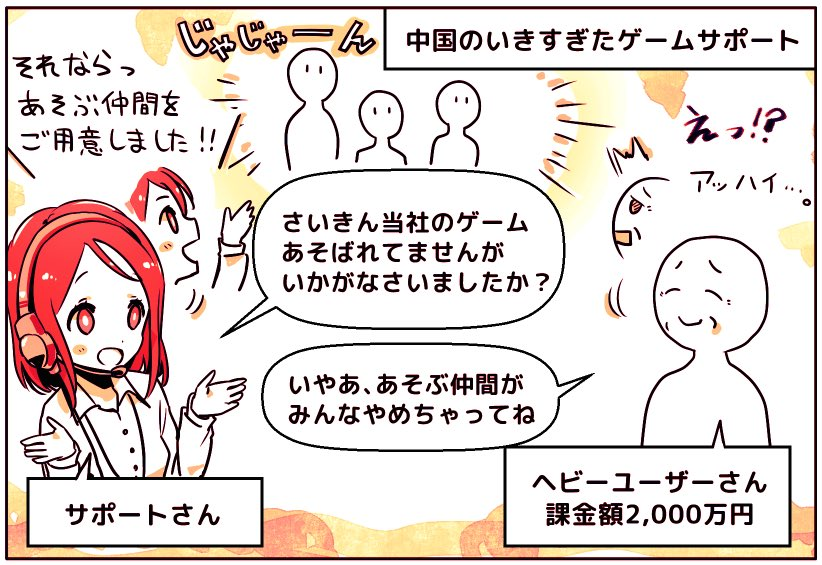 中国には「ゲームに1,000万円を課金するユーザー」がたくさんいる。  そのため「お金持ち100人つかまえればそのゲームは成功」とまで言われ、接待のようなサポートをする会社も。  ログインしてないユーザーに、御用聞きの電話をかけ、一緒にあそぶ仲間を用意してあげることさえあるそう。