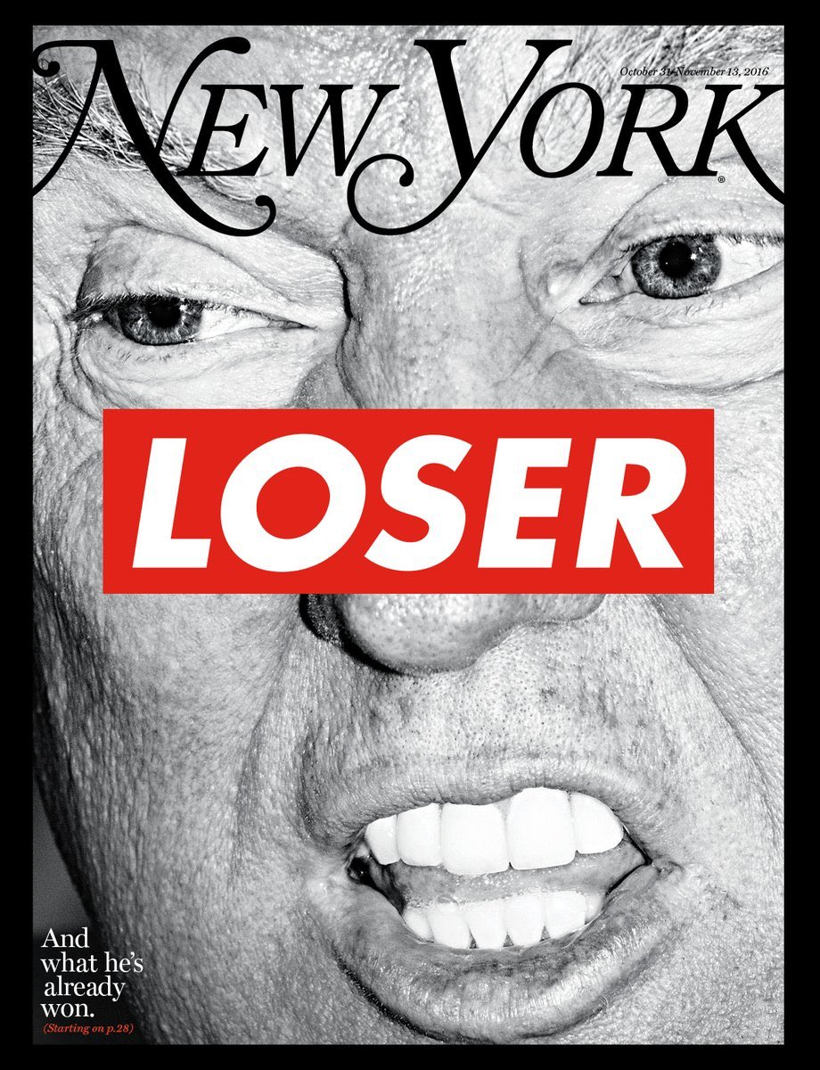 NYMag's election issue, out Monday, features this cover by Barbara Kruger. via @brianstelter @ReliableSources https://t.co/fUxpEG7B11