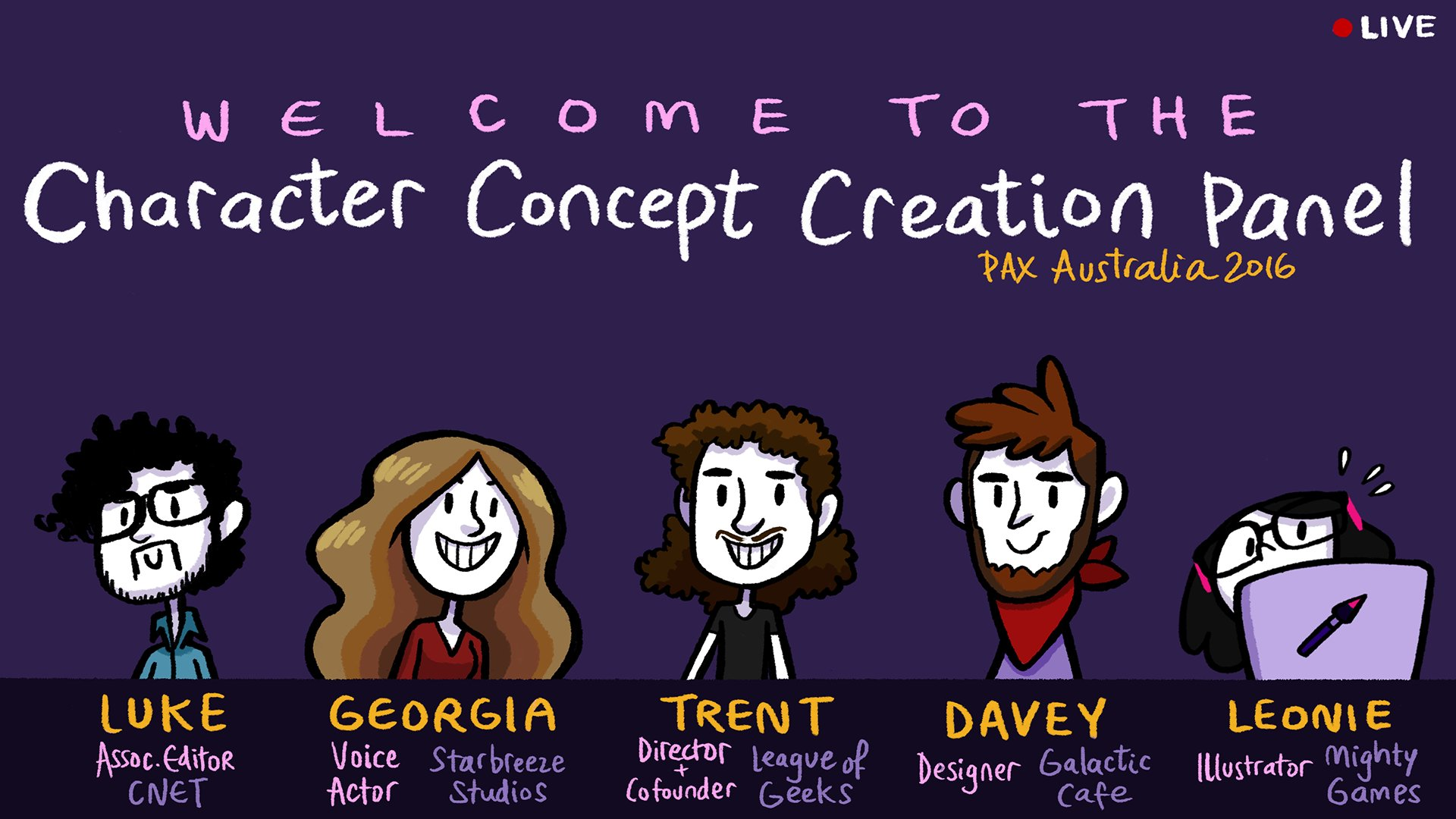 Character Concept Creation Panel @PAXAus Sunday! Take 2! @LGLancaster @GeorgiaVanC @TrentKusters @HelloCakebread https://t.co/dpuFYBHeZB https://t.co/jn4VBp2gCo