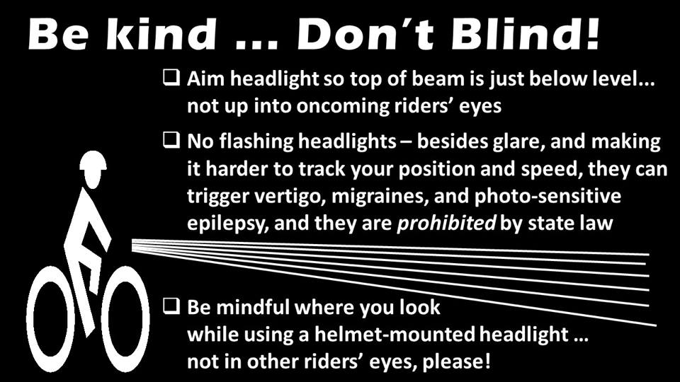 Flashing headlights? Those are for emergency vehicles, not bicycles. Don't zap your fellow riders in the lumen wars. https://t.co/R4cYyVxTZt