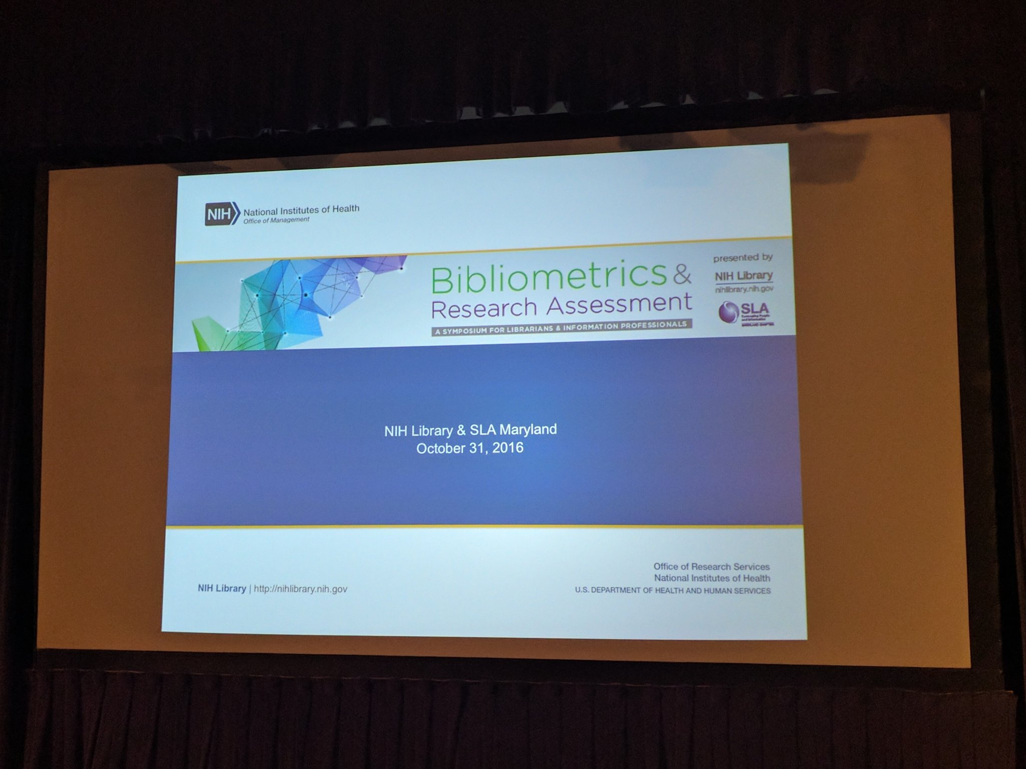Ready for #bibliometrics & #researchassessment symposium! @nihlib @sla_md https://t.co/BGSVXmMMlI