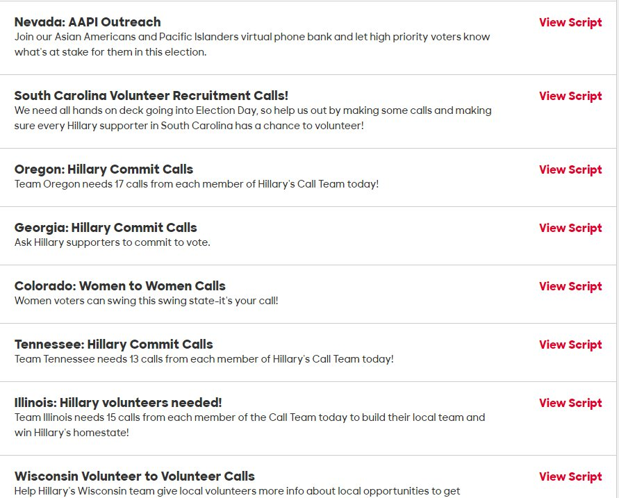 Dan Amira On Twitter This Is Weird To Me Clinton Website Gives Volunteers No Option To Call Voters In Fl Nc Nh It Does Have Phone Numbers For Or Tn Sc Il