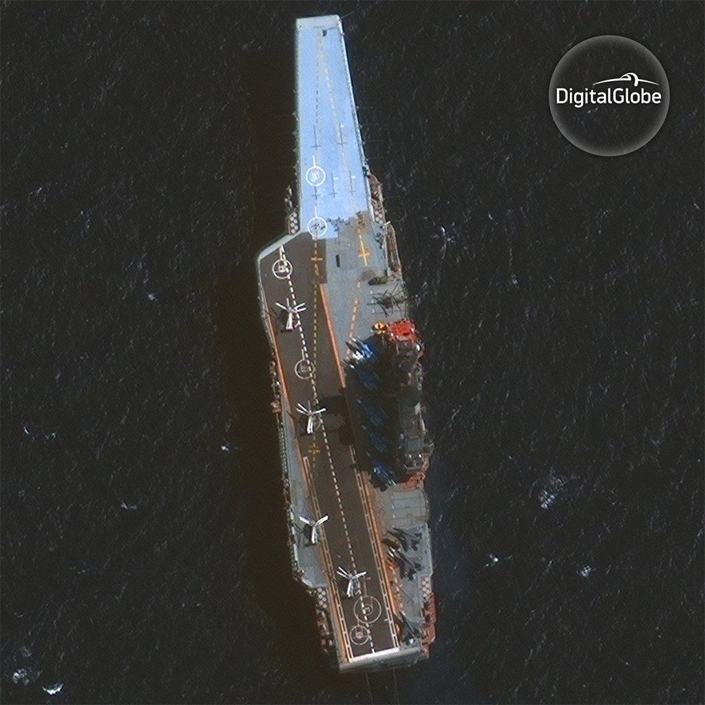 Impressive shot of Russia's aircraft carrier, the Admiral Kuznetsov, captured last Friday by #GeoEye1 https://t.co/3pQGfPNE9y