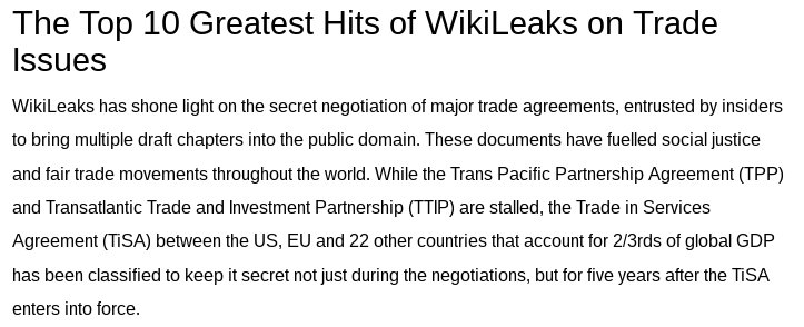 WikiLeaks top ten documents on trade #TPP #TTIP #TISA #ACTA #India https://t.co/xpAQQzWHYa