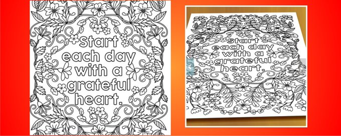 Detailed coloring poster for grown-ups coloringposter heart coloring elderly diy art