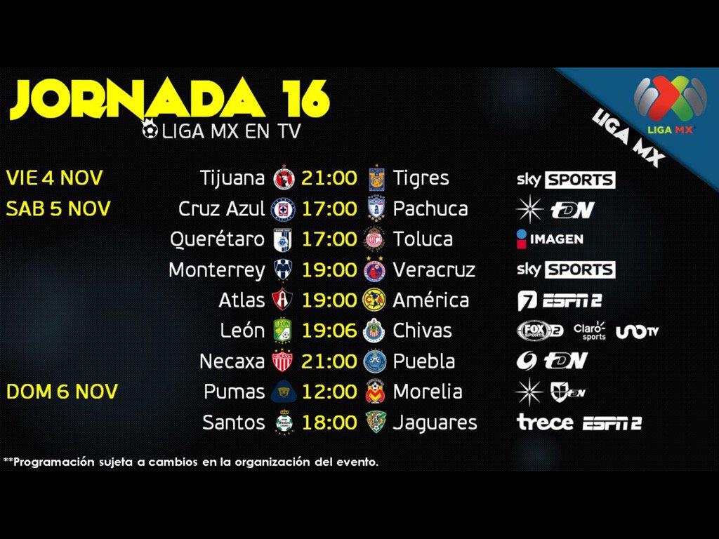 Programación por TV de la jornada 16 de la Liga MX @pepehanan @enlineadeportiv https://t.co/JPydmr3jJo