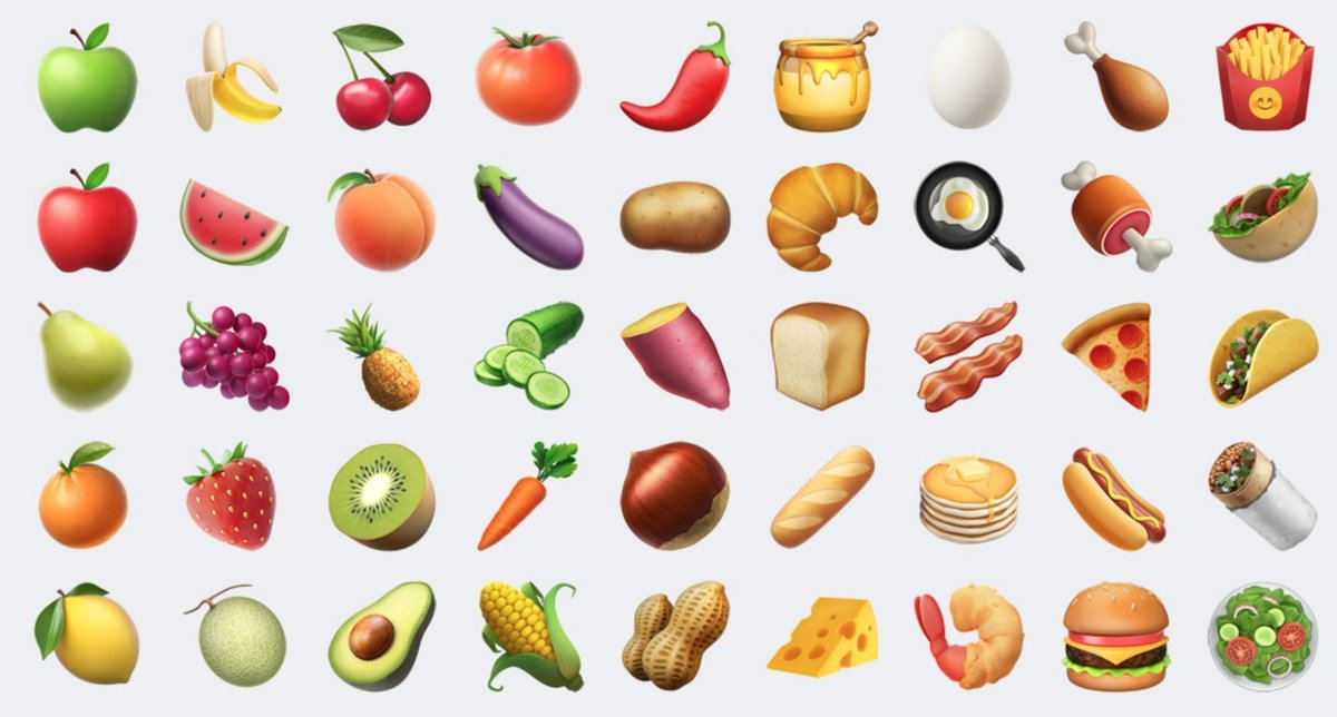 Apple is redrawing most of the food emoji in 10.2...the peach has lost all of it meaning though. https://t.co/bVSmzd7SCj