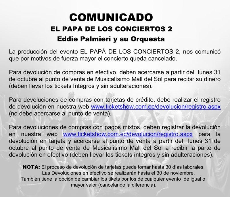 Ticket Show On Twitter Comunicado El Papa De Los Conciertos 2
