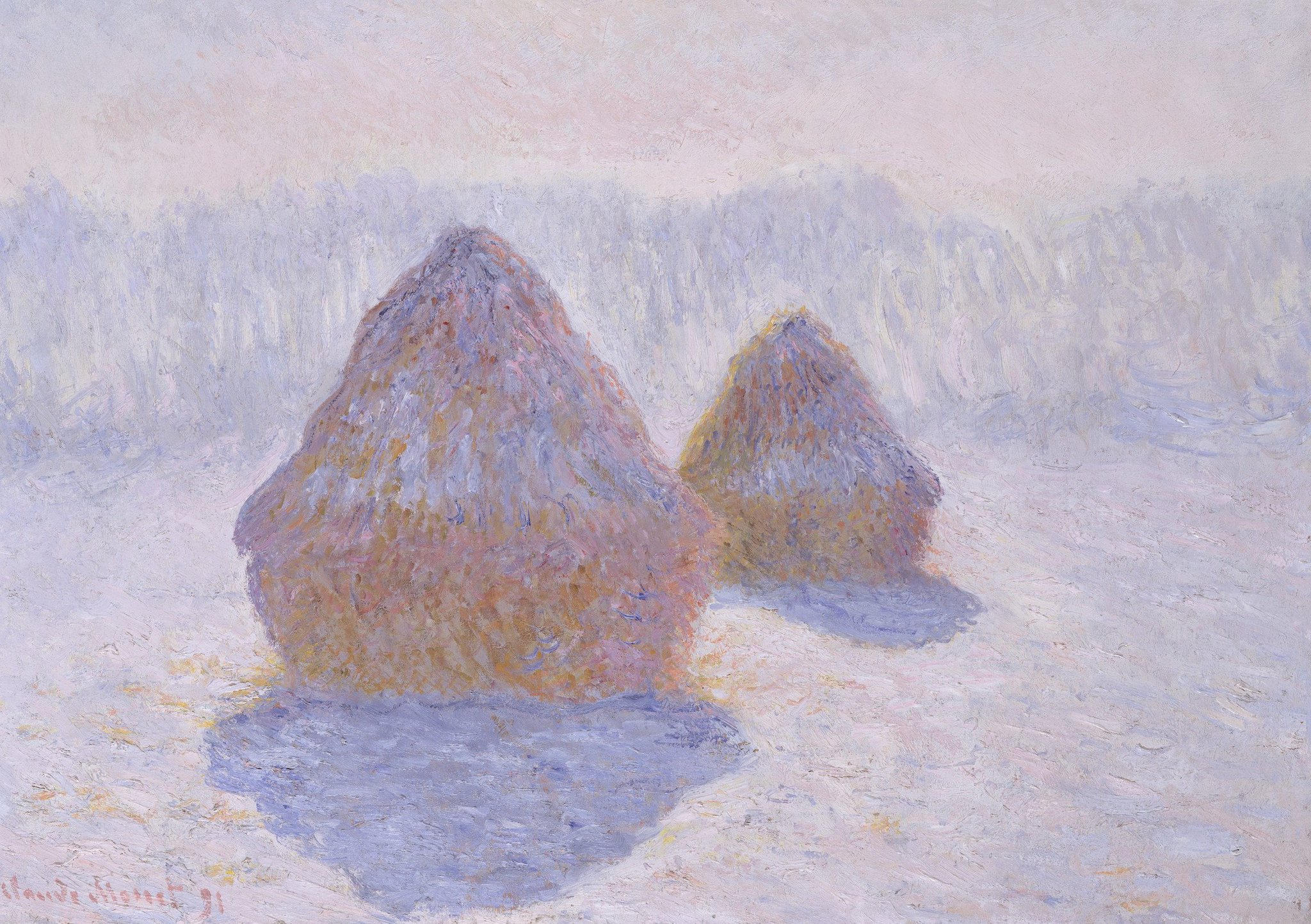 """The Metropolitan Museum of Art در توییتر """"Between 1890 and 1891 Monet  devoted some thirty paintings to the haystacks at Giverny.  https://t.co/eQhzfs1HIP… """""""