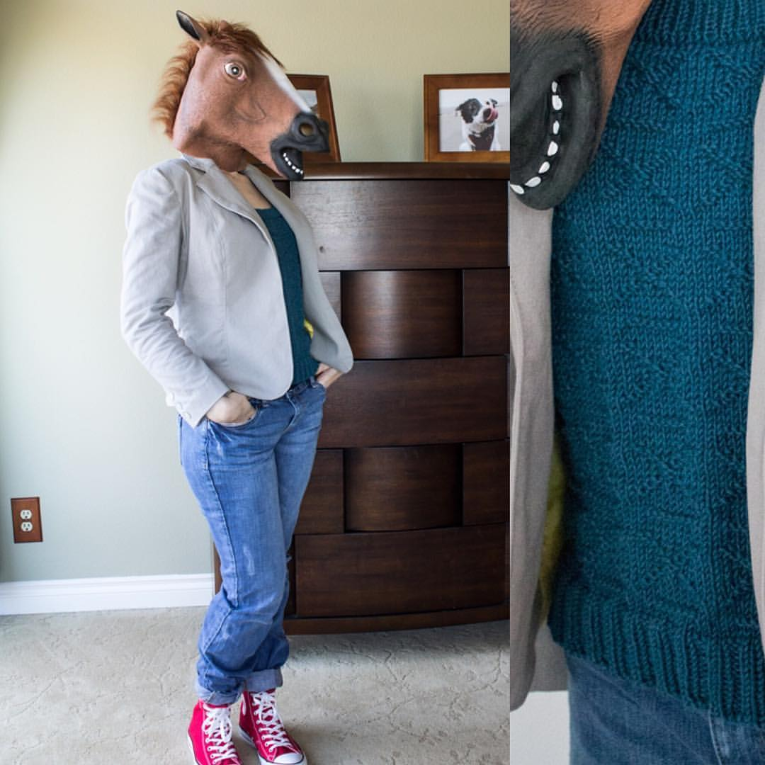 .@BoJackHorseman Here's my gender swapped BoJack. Knit the sweater and sewed the jacket. #halloween2016 https://t.co/PkF2uAlQiO