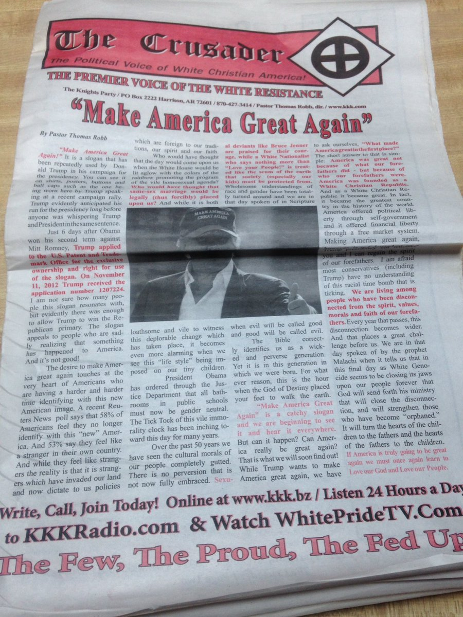 KKK Paper 'The Crusader' Backs Trump; Campaign Rejects It
