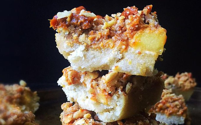 Caramel Apple Streusel Bars [Vegan]