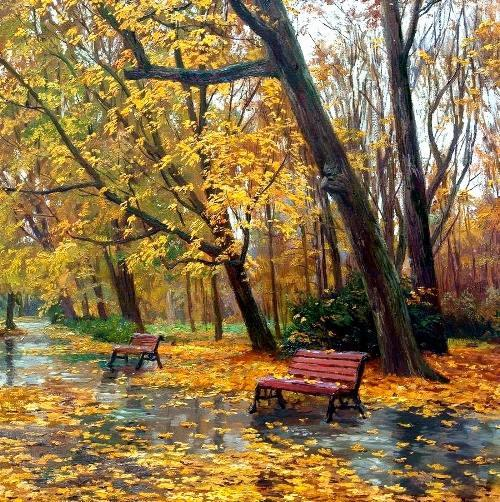 Valery Busygin The Rain in Autumn Park #landscape #painting