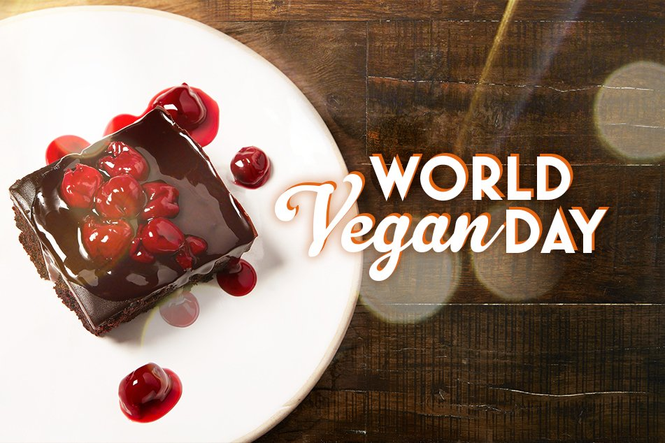 #PinchPunch it's the 1st of November.. which means it's #WorldVeganDay 🎊 Come in & try our Vegan Chocolate Cherry Cake for yourself! 🍒 🍫 https://t.co/mG6QzCogKU