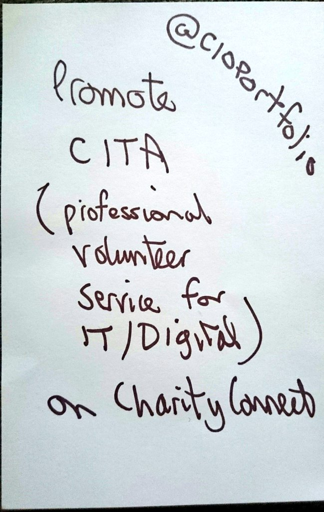 Action from the #CharityMeetup last night from Richard @CIOPortfolio he is going to promote CITA on @CharityConnect. Is there a website? https://t.co/w4vBV5JGno