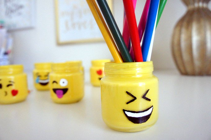 Repurpose in a cute & fun way with this Emoji Jar tutorial!emoji crafts