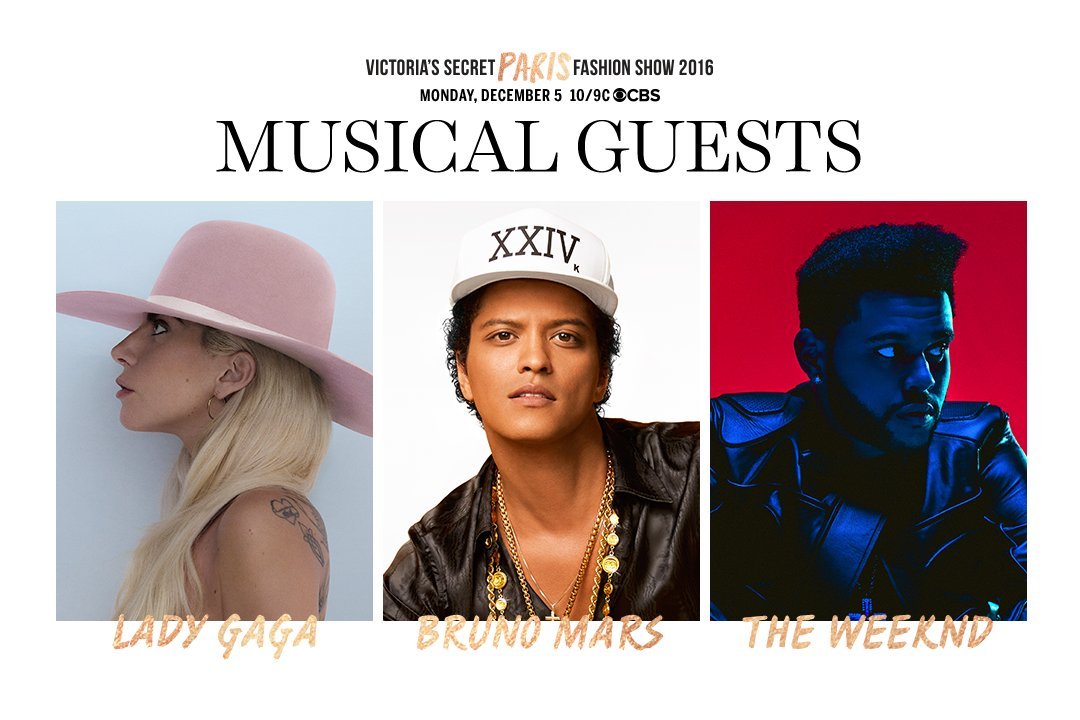 GET EXCITED. @ladygaga, @BrunoMars, @theweeknd will perform at the 2016 #VSFashionShow!