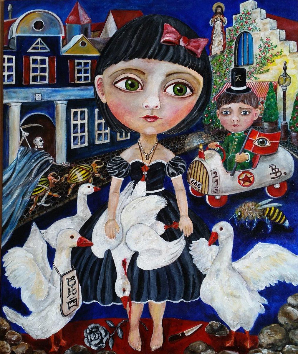 #Black_Rose #Painting #Surrealism #Acrylic #Canvaspanel #BarbaraBillei...
