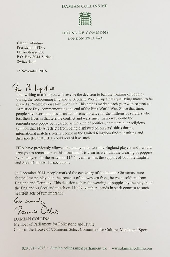 I have written to #FIFA President Infantino asking him to reverse the poppy ban from the England vs Scotland match https://t.co/PbFgaZtG7p