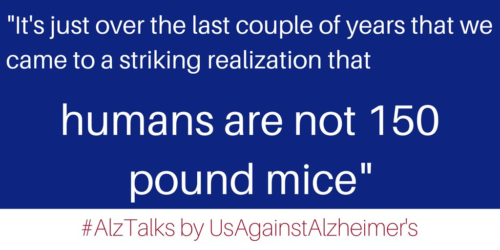 """Humans are not 150 pound mice"" find out what that means for Alzheimer's research on #AlzTalks https://t.co/1Av5tBtWJ0 https://t.co/0mzPhjQ2wt"