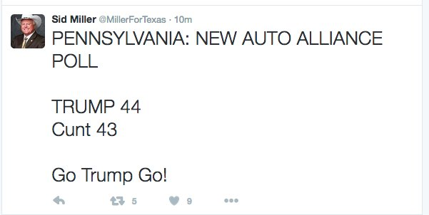 The lovely @MillerforTexas deleted his tweet calling Hillary the C-word, but it lives on in a screenshot. https://t.co/sJJfeUAM7Z