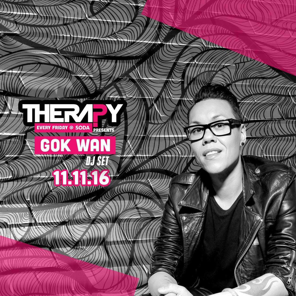 don't forget @therealgokwan will be at @TherapyCardiff @SodabarOfficial 11.11.16