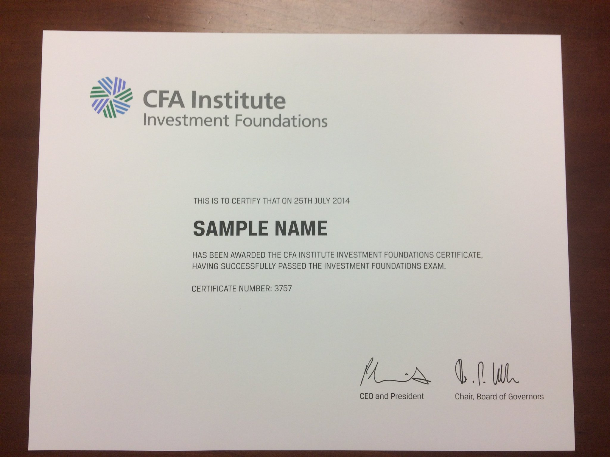 cfa certificate holders inv inst found