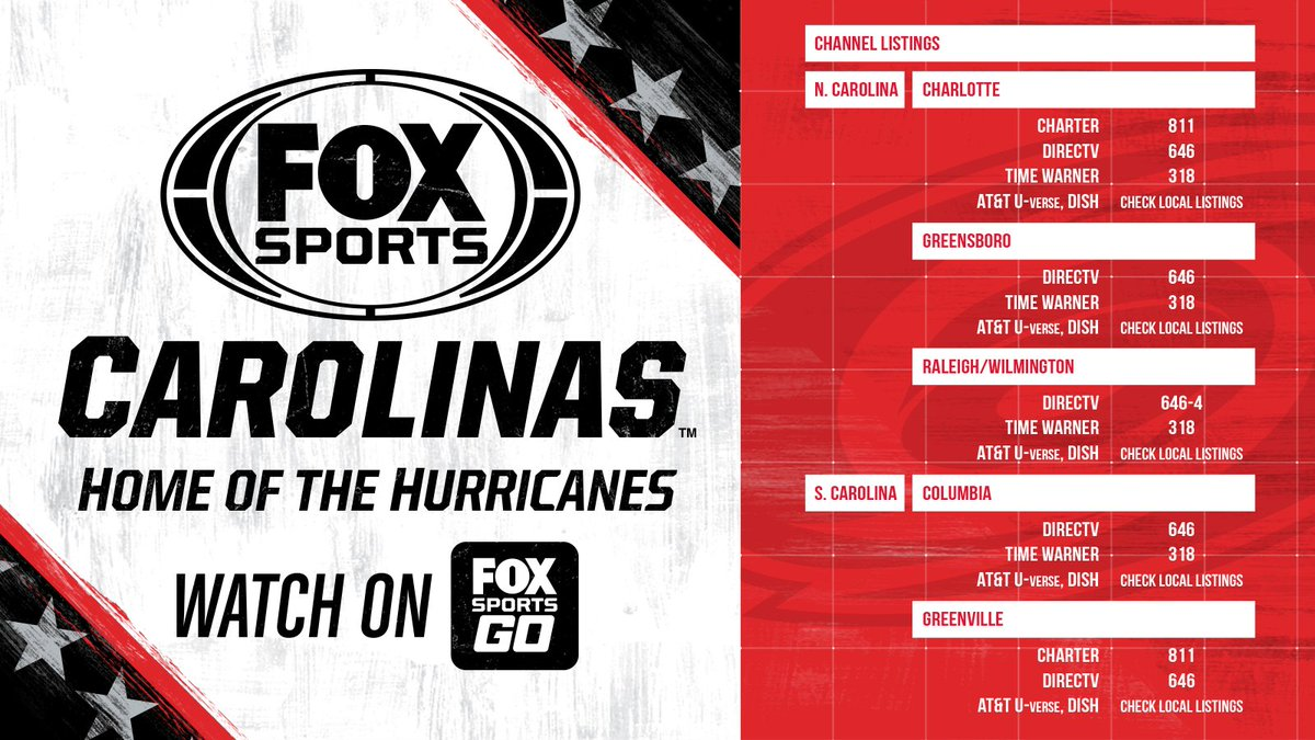 """fox sports carolinas on twitter: """"where to find tonight's @nhlcanes"""
