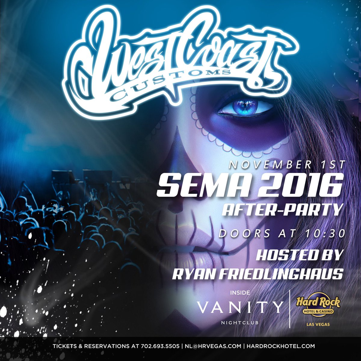 Join us tonight for the #SEMA2016 After Party featuring @officialwcc! #WestCoastCustoms https://t.co/OeAPJAy5UF