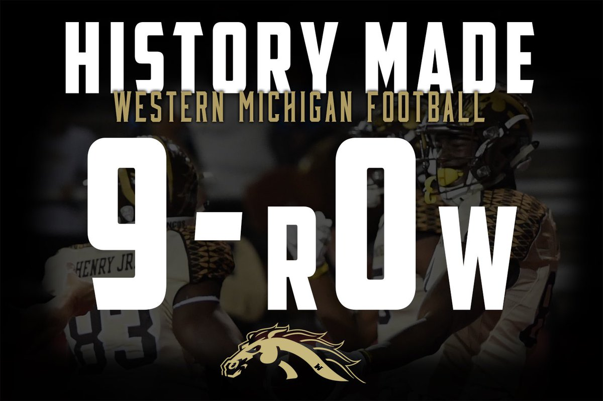 For the 1st time in school history, Western Michigan is 9-0. Broncos defeat Ball State, 52-20. #gROWh16her #RTB https://t.co/PysNNnSaQr