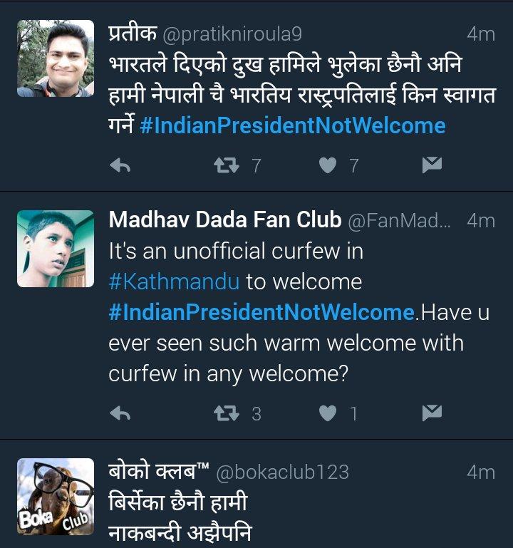 Unhappy Nepalese trend #IndianPresidentNotWelcome