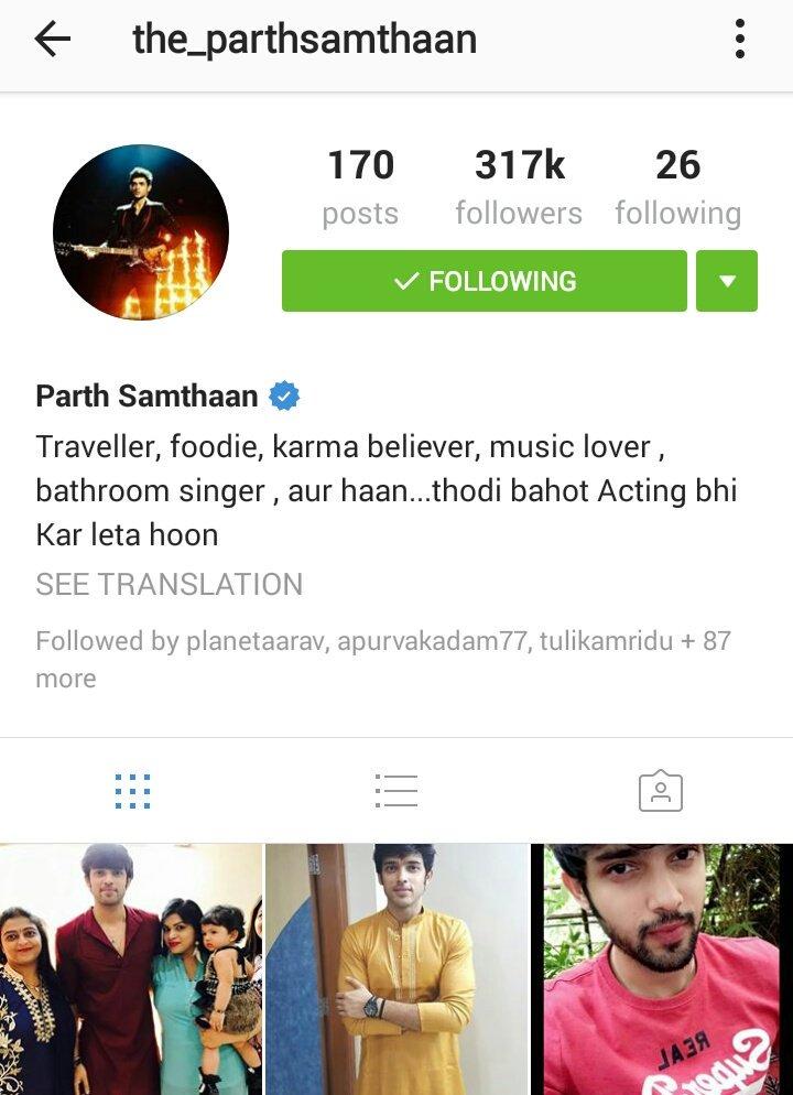 """ParthSamthaanOfc on Twitter: """"[Instagram]: Bio updated ..."""