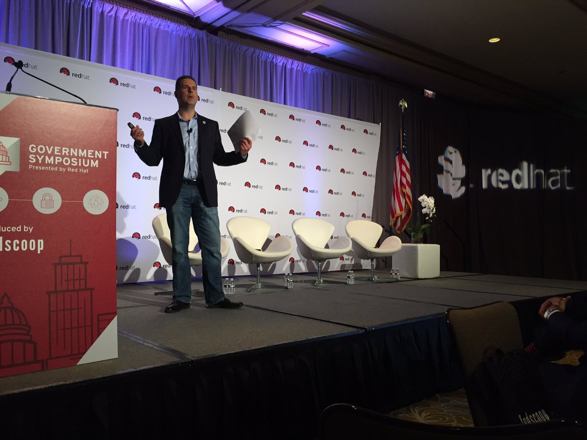 @mikehermus CTO of @DHSgov  rocking the stage at #RHGovSymp! #RedHatGov  cc: @fedscoop https://t.co/ditSlCP7fF