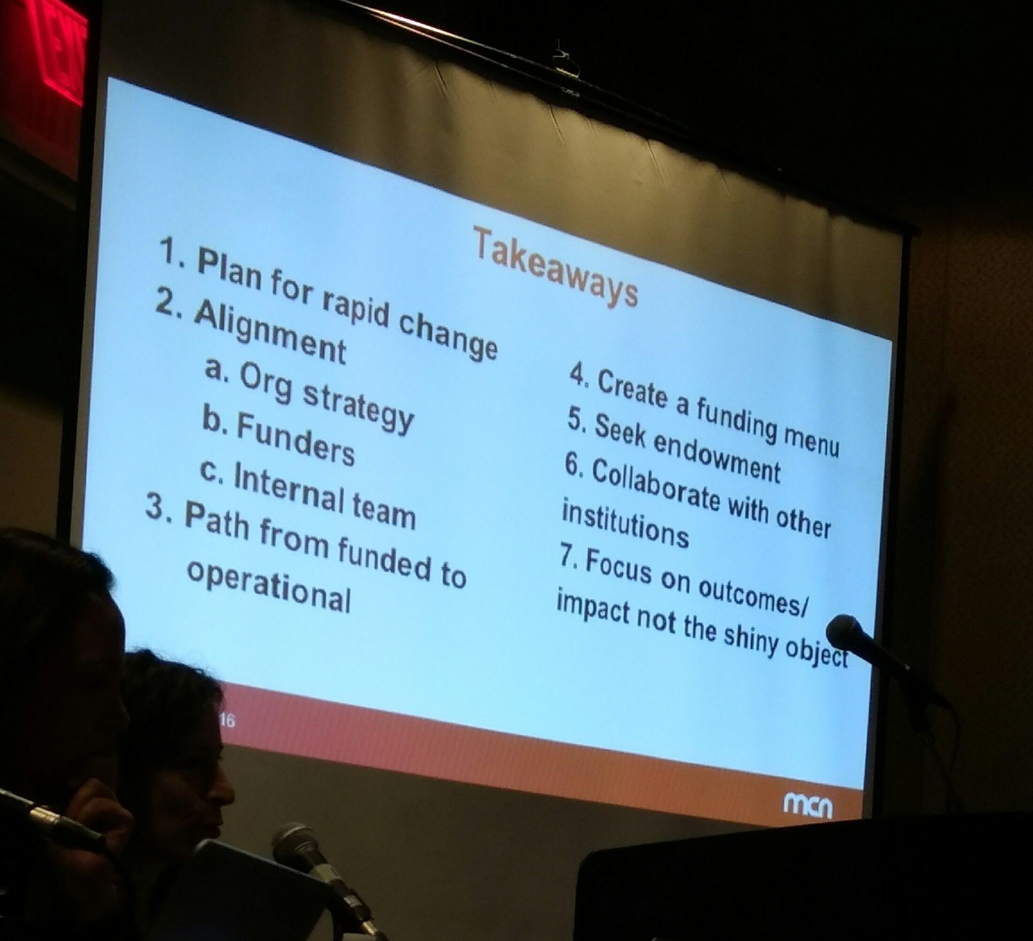 Takeaways from awesome funding models sesh #MCN2016  w @lhmann @dhegley @janecalexander @agnesstauber https://t.co/Y5xu2hIPEU