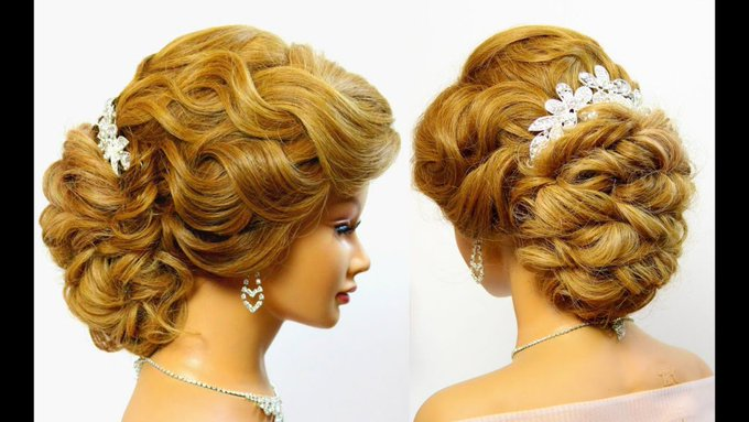 Bridal updo. Wedding hairstyle for long hair. Tutorial - makeup